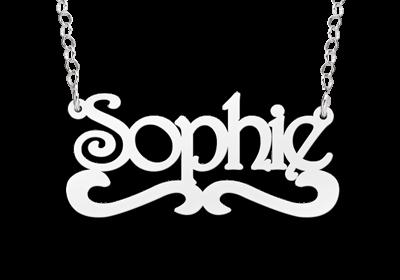naamketting met krul zilver voorbeeld sophie