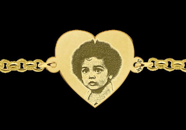 armband met foto erop gegraveerd goud