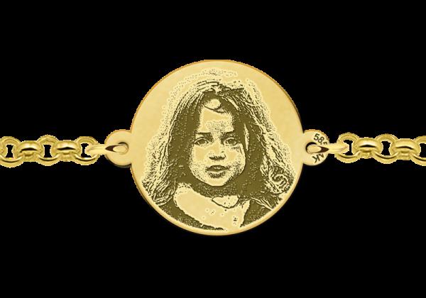 gegraveerde foto armband goud