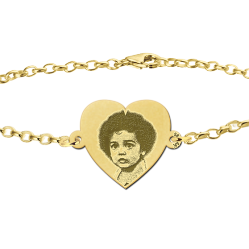 armband met foto goud hartje
