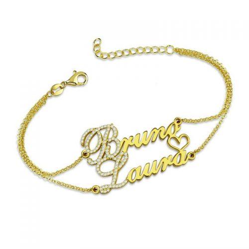 armband 2 namen goud
