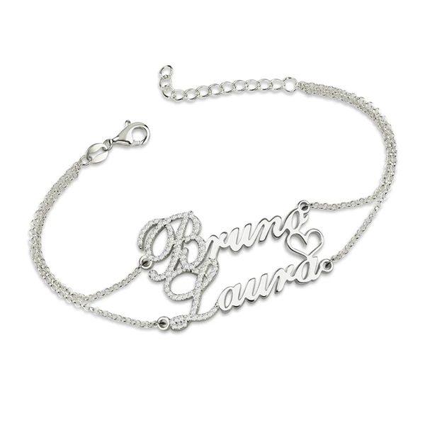 armband met 2 namen zilver