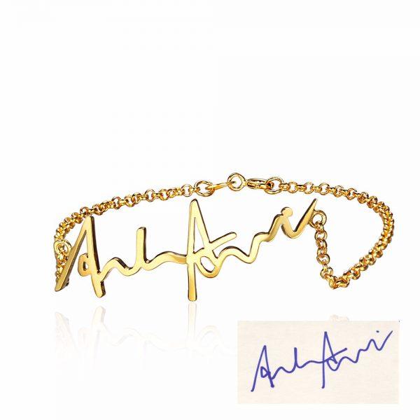 eigen handschrift armband goud