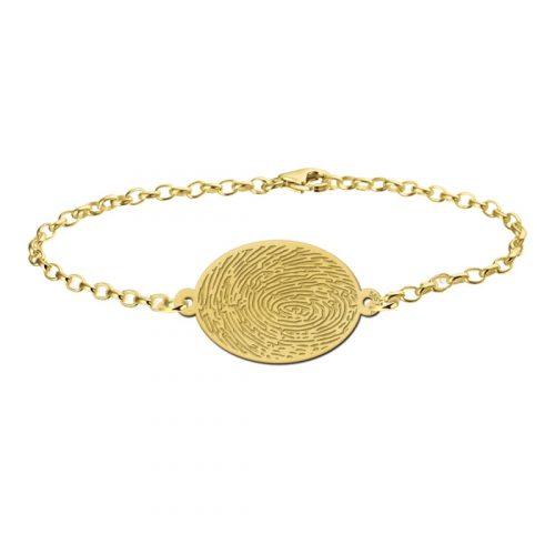 vingerafdruk op gouden armband graveren