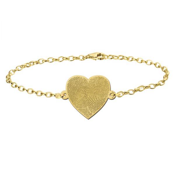 armband met vingerafdruk op hartje goud