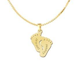 gouden babyvoetjes ketting met naam en geboortedatum