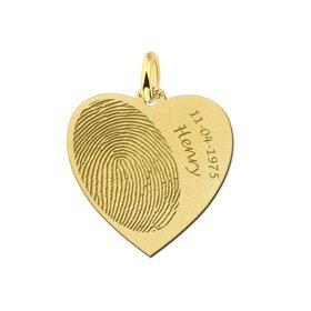 goud hartje met vingerafdruk naam en datum