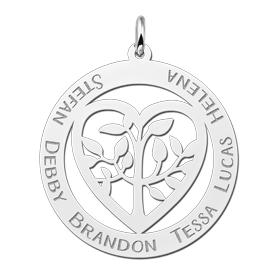levensboom hanger met naam gravering zilver