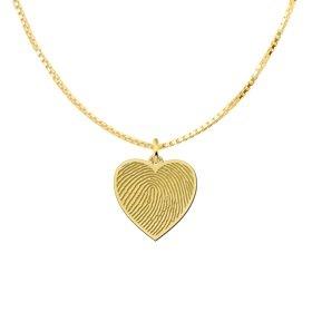 gouden ketting met vingerafdruk hartje