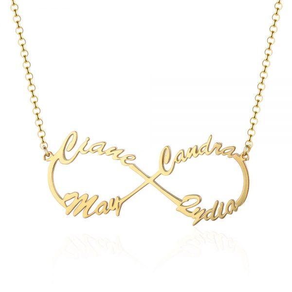 infinity ketting 4 namen goud