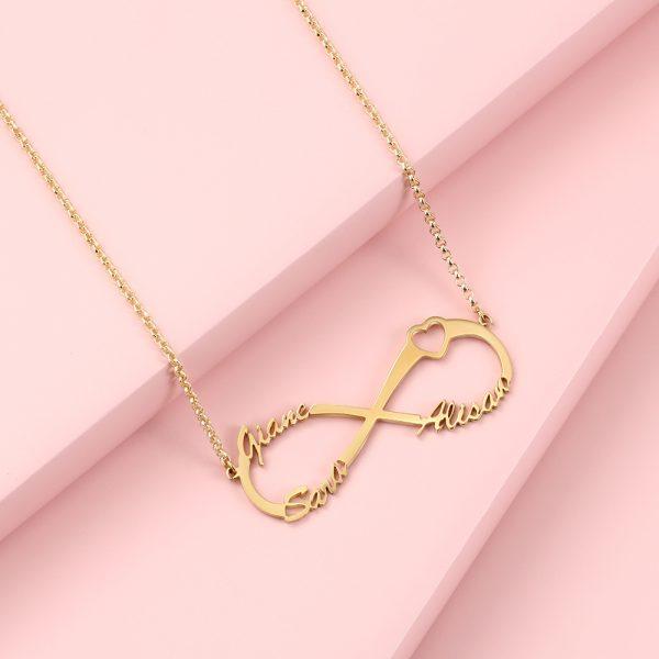 infinity ketting met 3 namen goud