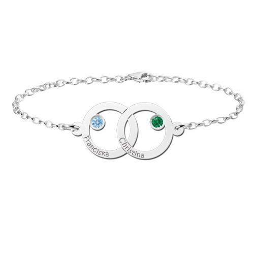 zilveren armband met 2 namen