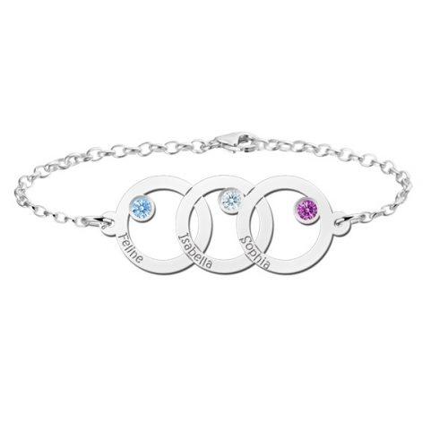 armband met 3 namen zilver