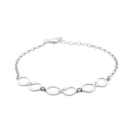 armband met 3 namen en infinity tekens zilver