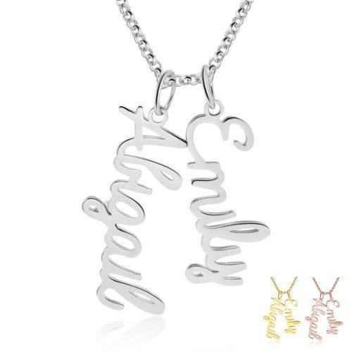 verticale naamketting met 2 namen zilver