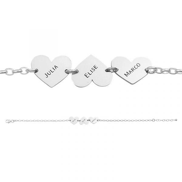 armband met 3 namen hartjes
